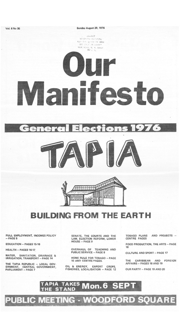 General Elections (T&T) 1976 Tapia Newspaper